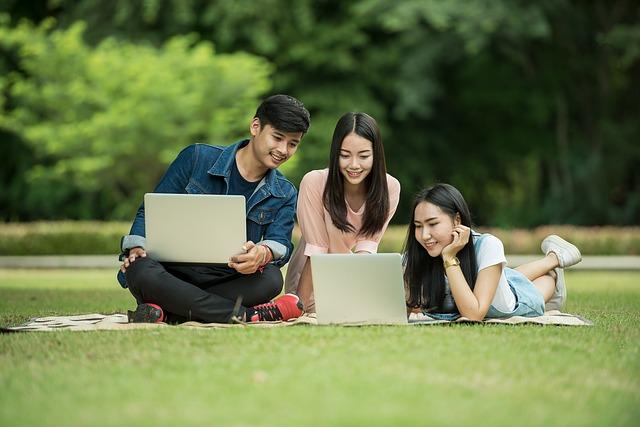 studenten studeren buitenshuis laptop