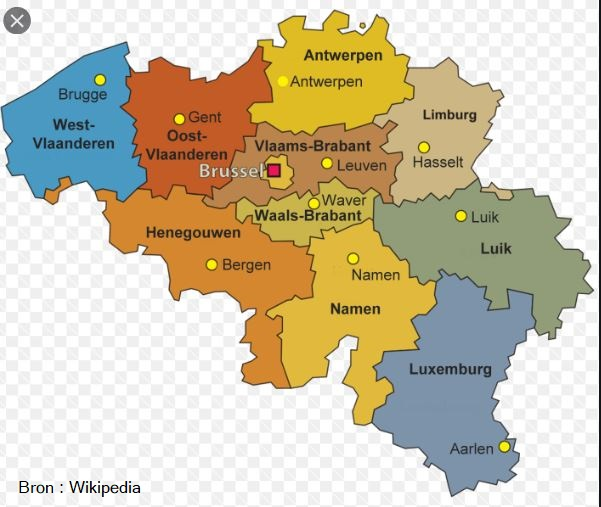 België Belgium provinicies landkaart reizen travel Benelux